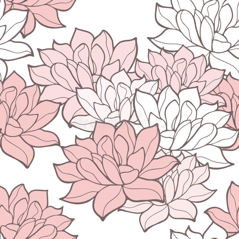 Stilfull sömlös bakgrund för lotusblommablommor stock illustrationer