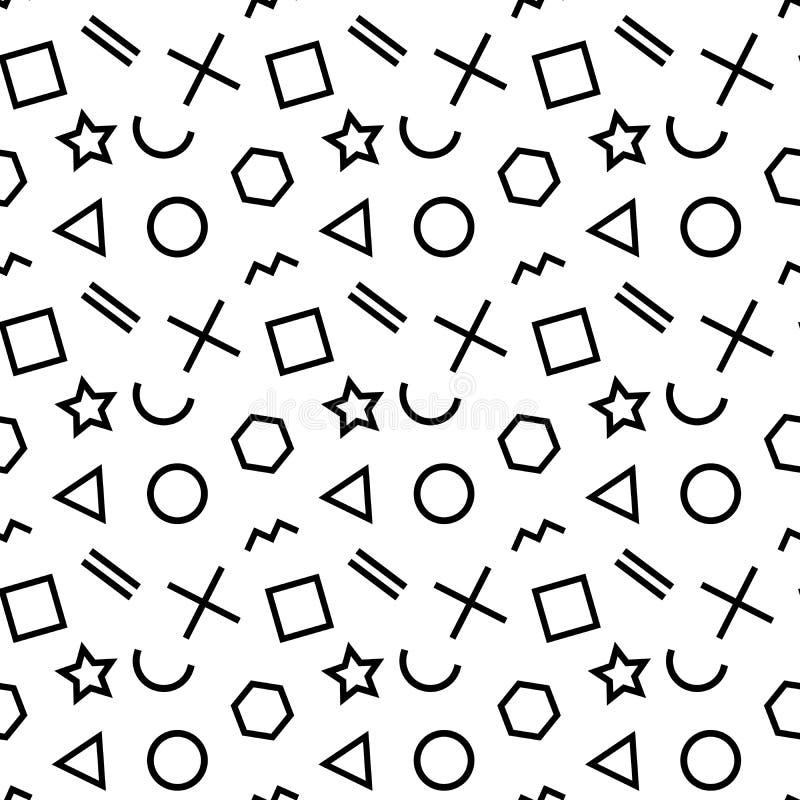 Stilfull sömlös modell av enkla svarta geometriska former på vit bakgrund modern vektor för abstrakt bakgrund stock illustrationer