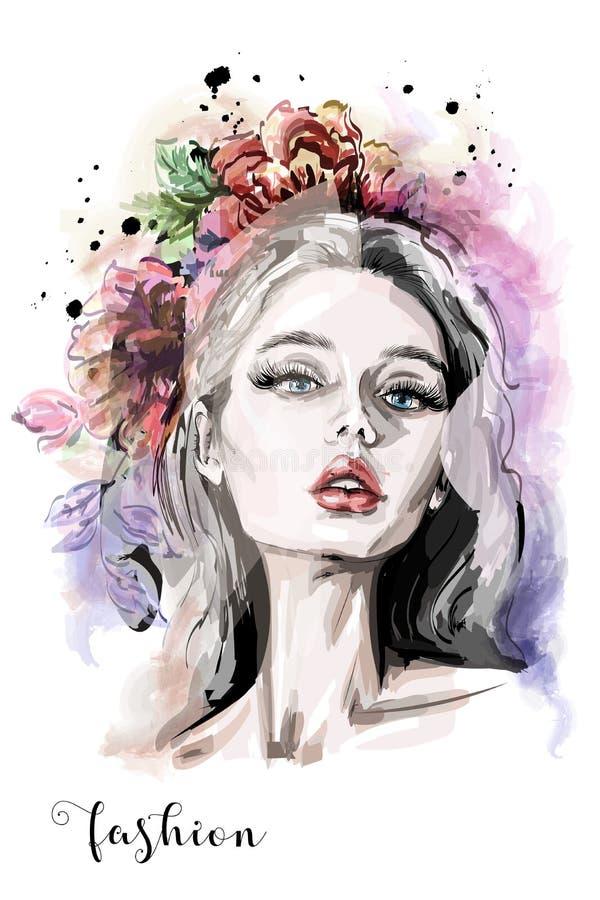 Stilfull sammansättning med den hand drog härliga ståenden för ung kvinna, blommor och vattenfärgfläckar Text och teckning av fli stock illustrationer