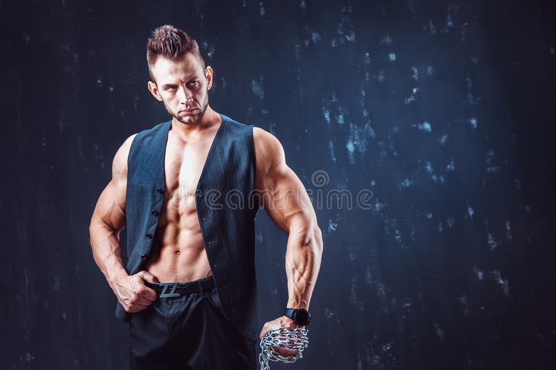 Stilfull shirtless man i waistcoat arkivbilder