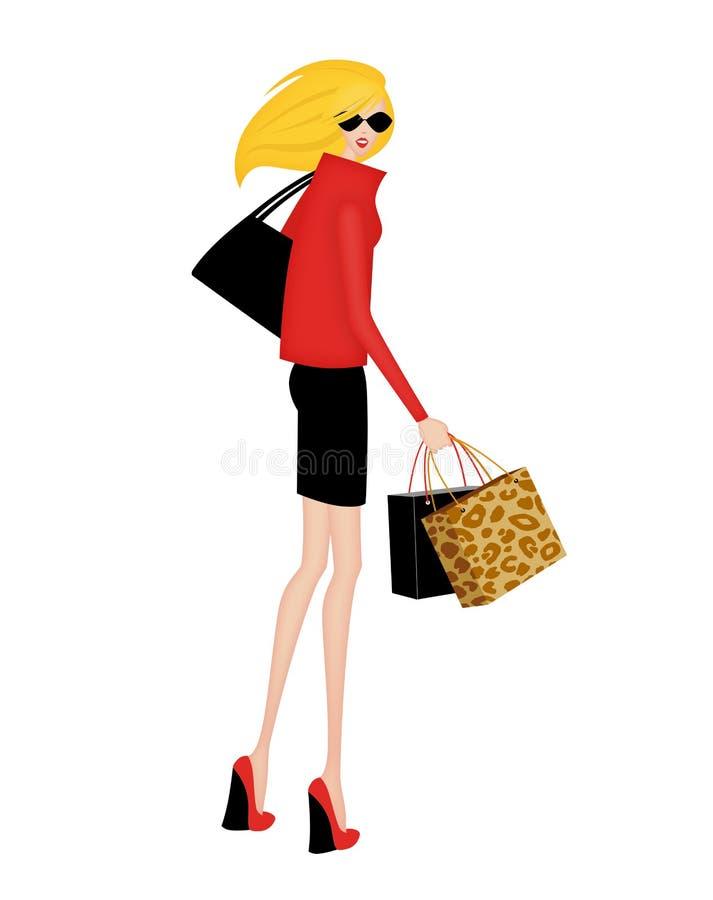 Stilfull shoppare som vänder till blicken bak henne vektor illustrationer