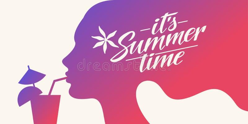 Stilfull sommaraffischkontur av en flicka med en tropisk coctail Märka dess sommartid vektor illustrationer