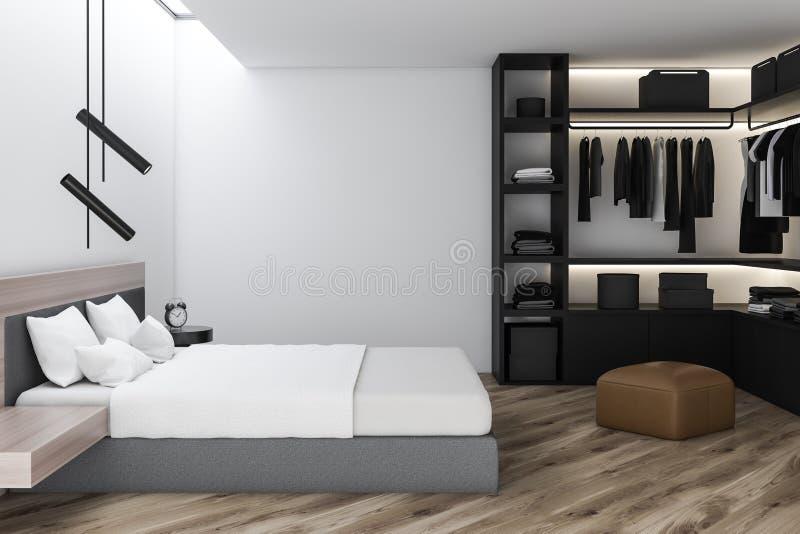 Stilfull sovruminre med vit sängkläder av konungformatsäng i innegrej 3d framför garderob vektor illustrationer