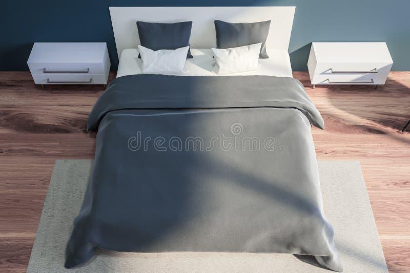 Stilfull sovruminre med vit sängkläder av konungformatsäng i innegrej 3d framför Top beskådar stock illustrationer