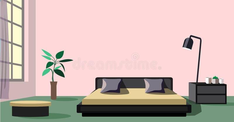 Stilfull stor sovrumdesign med fönstret stock illustrationer