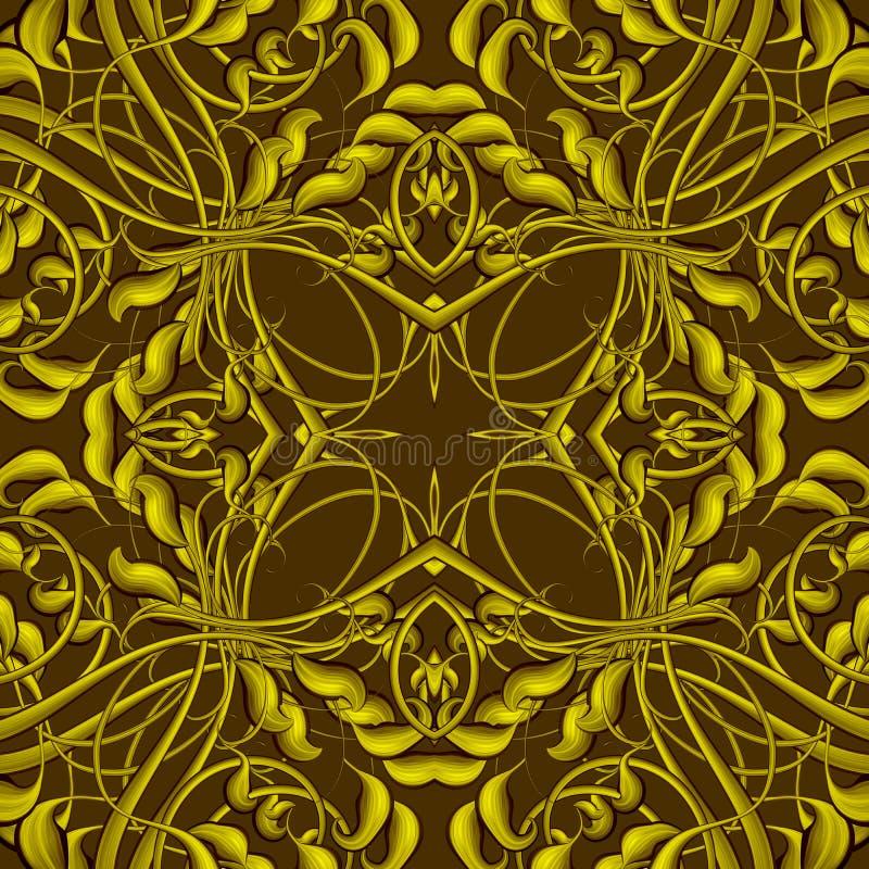 Stilfull tappningjulmodell i brunt, guling och guldcolo stock illustrationer
