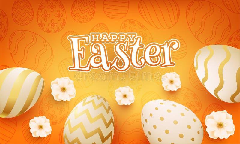 Stilfull text av den lyckliga påsken på orange skinande bakgrund med realistiska ägg och den härliga blomman för påskparti vektor illustrationer