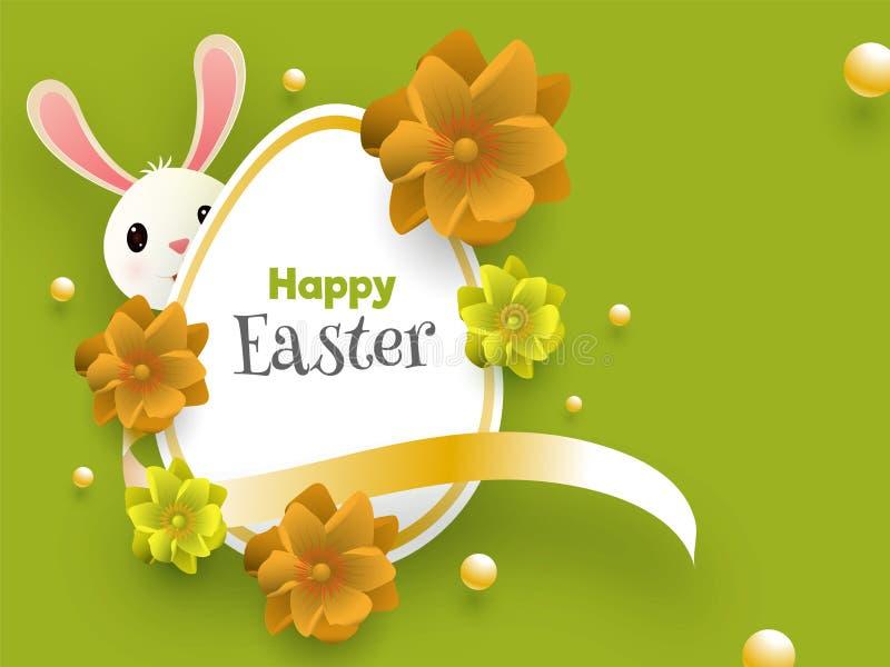 Stilfull text av den lyckliga påsken som dekoreras med det realistiska blommor och ägget och den gulliga kaninen på grön skinande vektor illustrationer