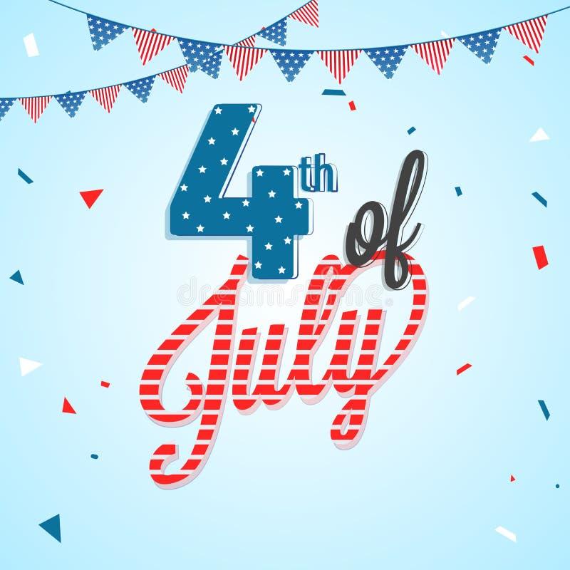 Stilfull text 4th Juli, bunting garnering Amerikan Independe royaltyfri illustrationer