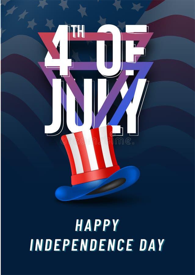 Stilfull text 4th Juli med hatten på blått, vinka för nationsflagga royaltyfri illustrationer