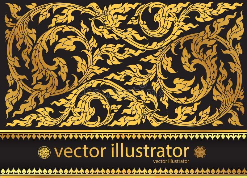 Stilfull thai tradition för vektormodell royaltyfri illustrationer