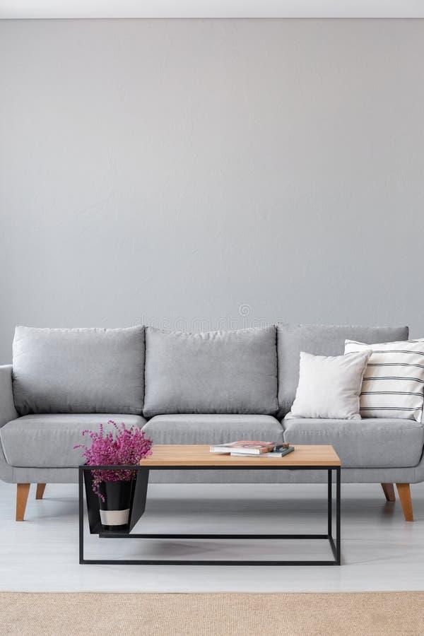 Stilfull träkaffetabell med tidskrifter och ljung bredvid den gråa soffan med vita kuddar arkivbild