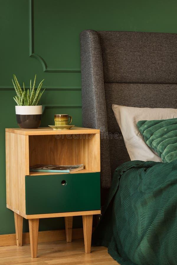 Stilfull tränightstand med krukan med den gröna växten och kaffekoppen bredvid konungformatsäng med huvudgaveln royaltyfria foton