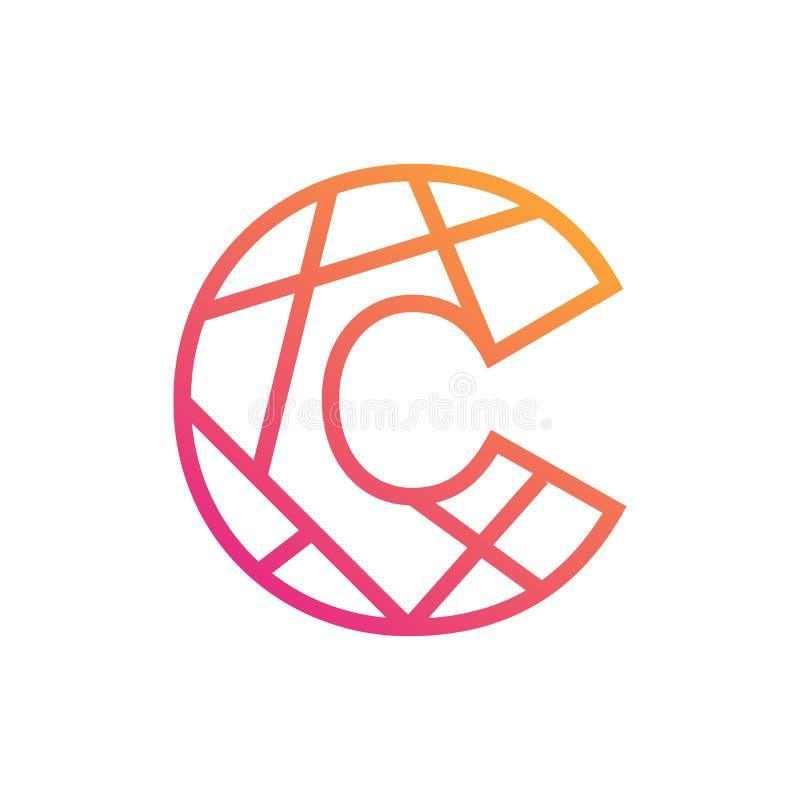 Stilfull typografisk logomall, symbol för bokstav C vektor illustrationer
