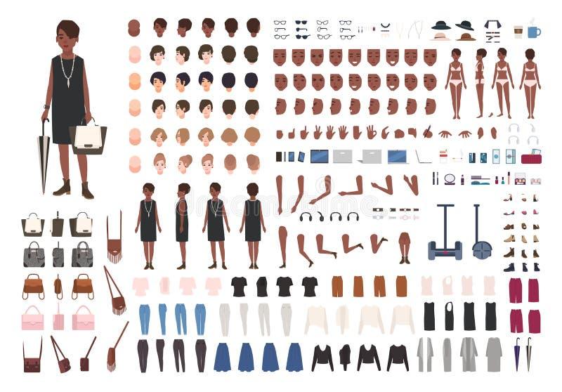 Stilfull ung afrikansk amerikandam DIY eller animeringsats Packen av kroppen för det kvinnliga teckenet specificerar, poserar, gö royaltyfri illustrationer