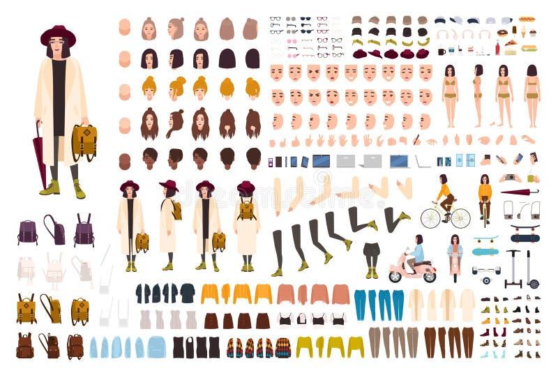 Stilfull ung flickaskapelseuppsättning eller DIY-sats Samling av kroppsdelar, moderiktig kläder, trendig tillbehör, framsidor royaltyfri illustrationer