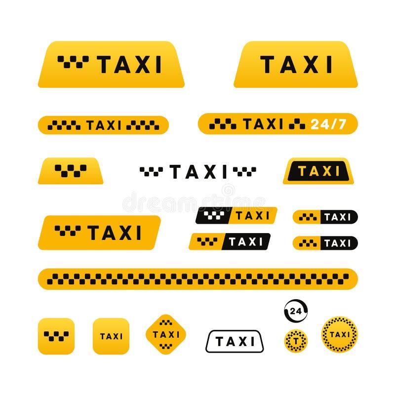 Stilfull uppsättning för taxi av logoer och klistermärkear royaltyfri illustrationer