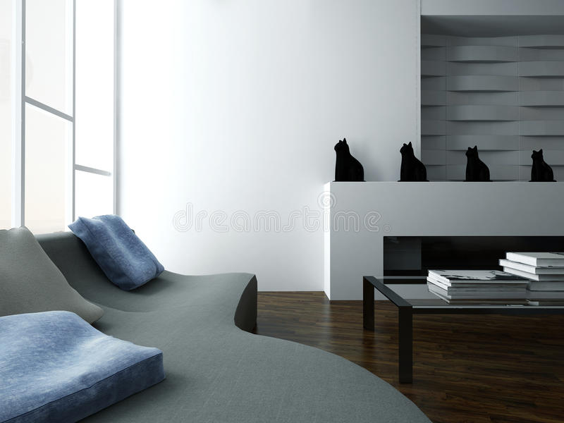 Stilfull vardagsruminre med soffan och designmöblemang vektor illustrationer