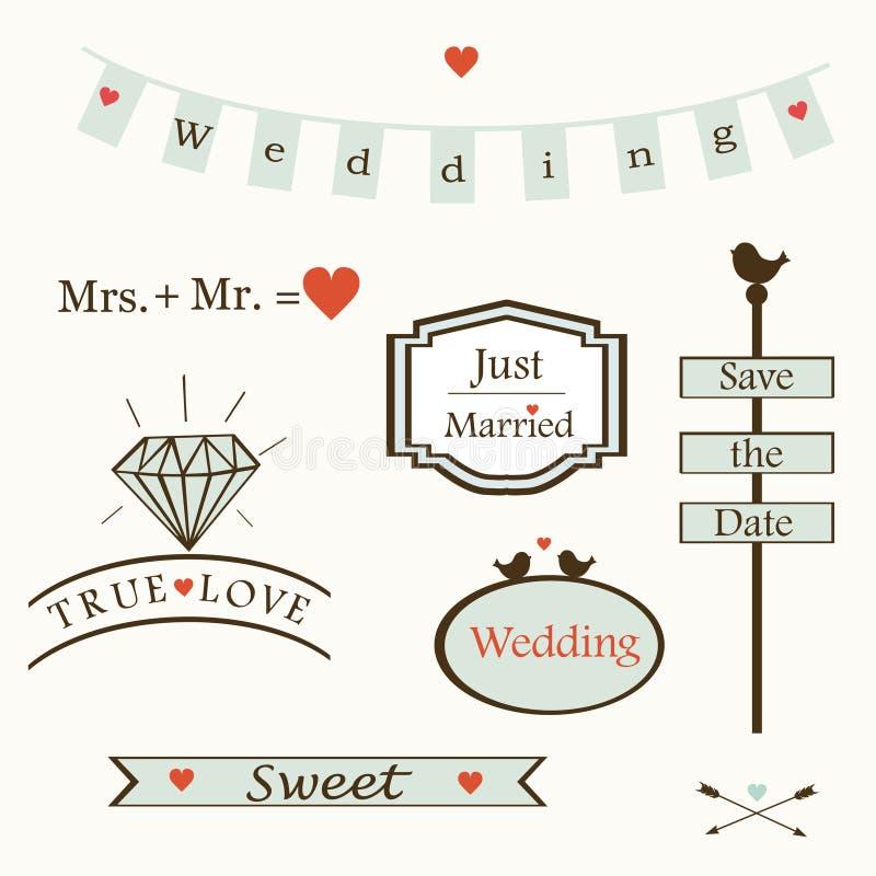 Stilfulla bröllopbeståndsdelar och logoer och labelsandsymboler, vektor stock illustrationer