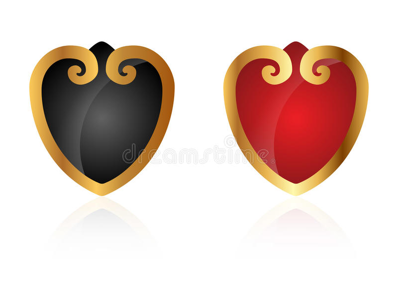 stilfulla hjärtor royaltyfri illustrationer