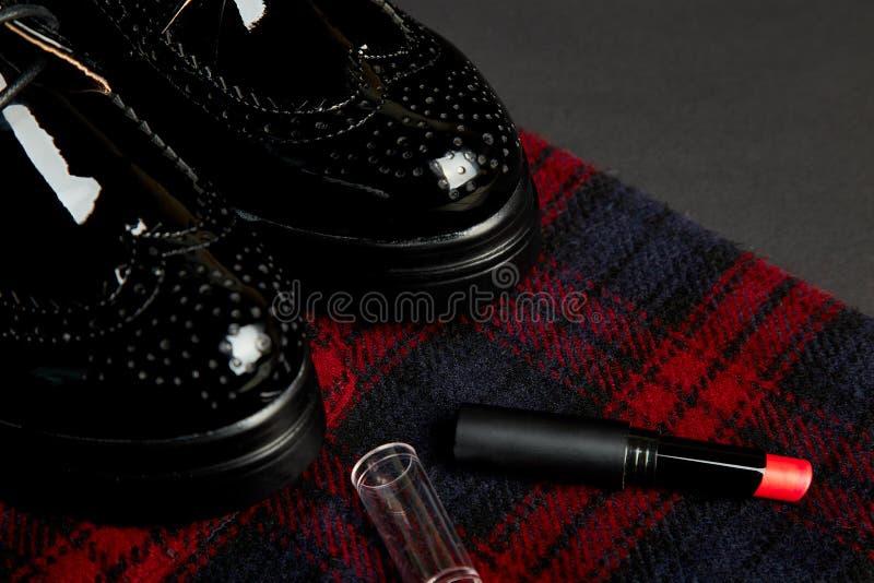 Stilfulla kvinnas för höst dräkt Rött randigt lag, svarta oxford skor arkivbild
