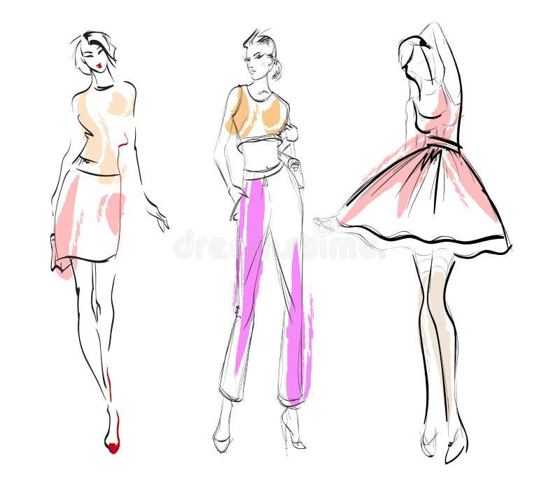 Stilfulla modemodeller Modeflickauppsättning stock illustrationer