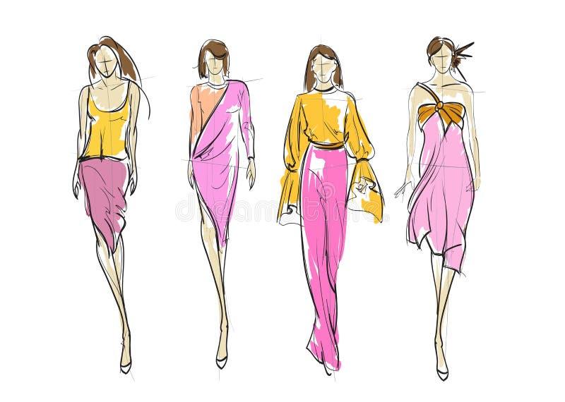 Stilfulla modemodeller modeflickor skissar vektor illustrationer