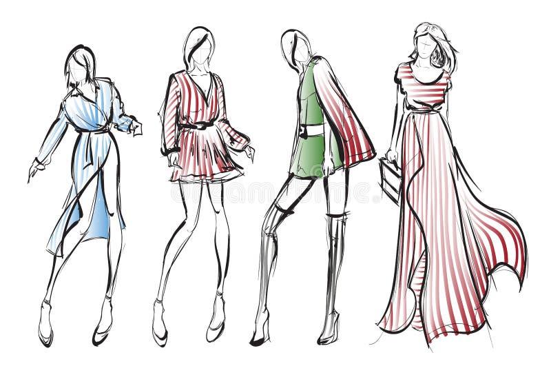 Stilfulla modemodeller modeflickor skissar royaltyfri illustrationer