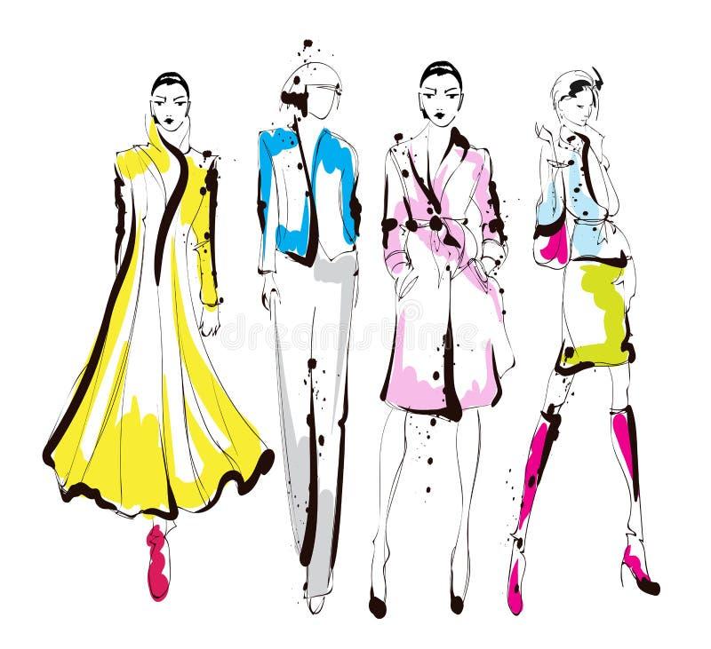 Stilfulla modemodeller Nätta unga flickor Modekvinna royaltyfri illustrationer