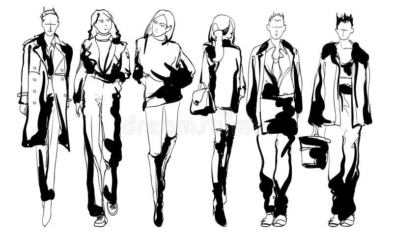 Stilfulla modemodeller N?tta unga flickor Dana kvinnan skissar vektor illustrationer