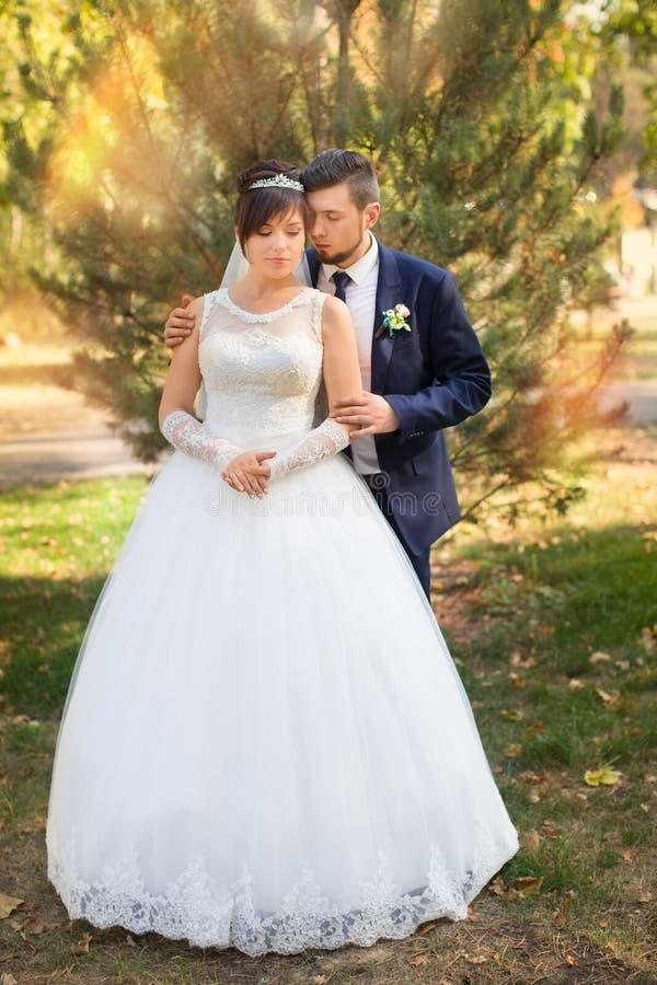 Stilfulla nygifta personer på deras bröllopdag royaltyfria foton