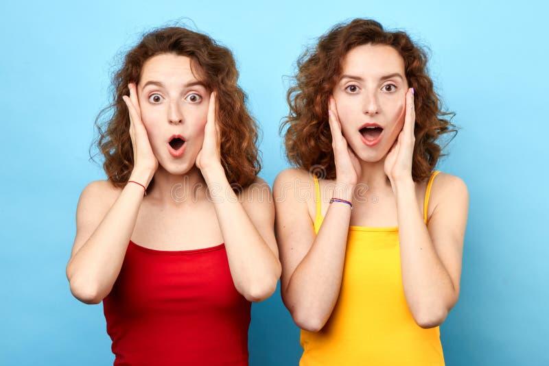 Stilfulla positiva två systrar med den öppnade munnen, gömma i handflatan rymma kinder arkivbild