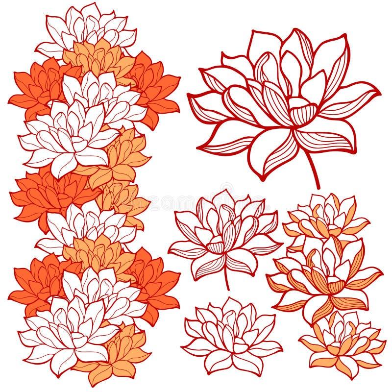 Stilfulla prydnader för lotusblommablommor vektor illustrationer