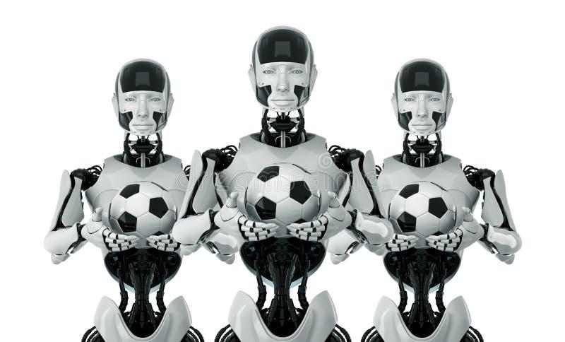 Stilfulla robotar med fotbollbollar 向量例证