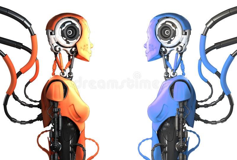Stilfulla robotar med kablar stock illustrationer