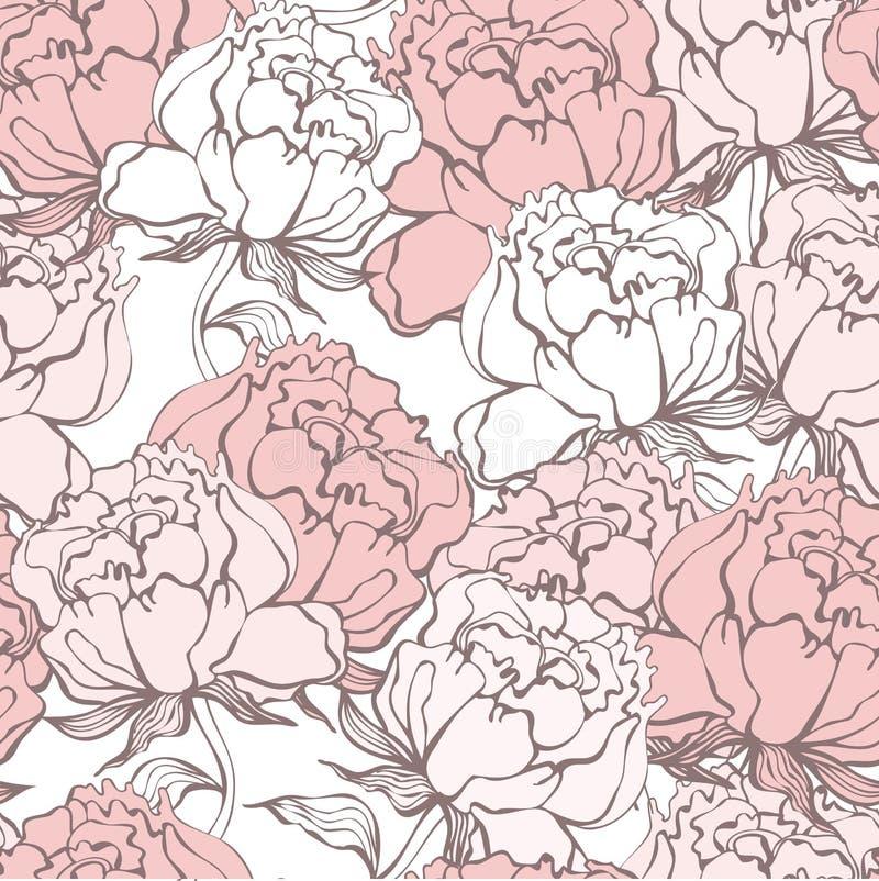 Stilfulla Rose Flowers Seamless Background stock illustrationer