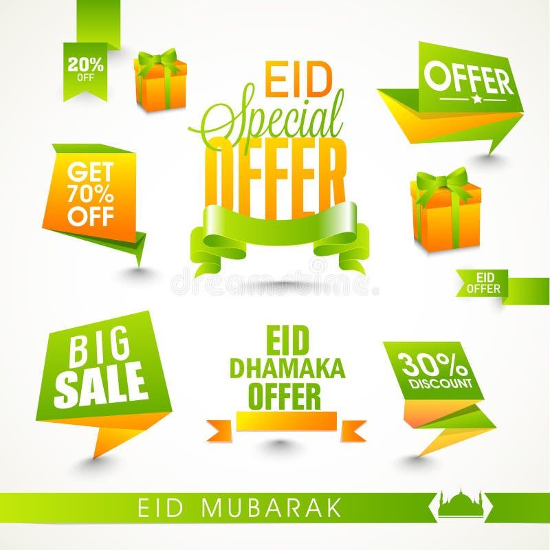 Stilfulla Sale etiketter då och då av den islamiska festivalen, Eid beröm stock illustrationer