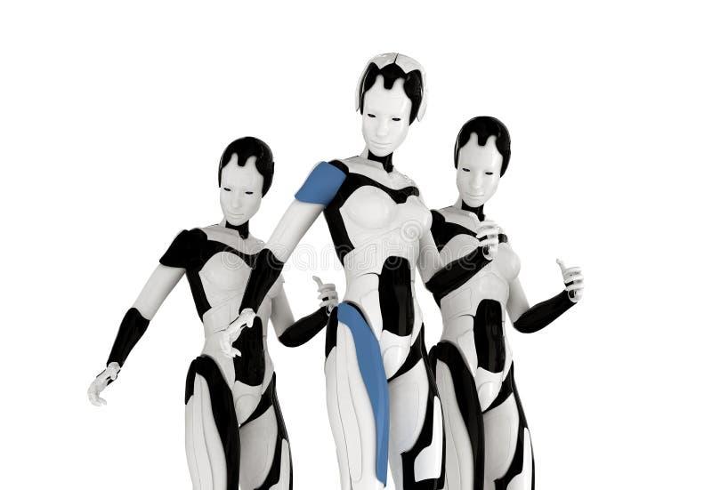 Stilfulla tre robotar 向量例证