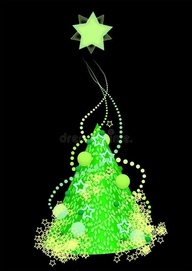 Stilfullt grönt julträd, illustration arkivfoton