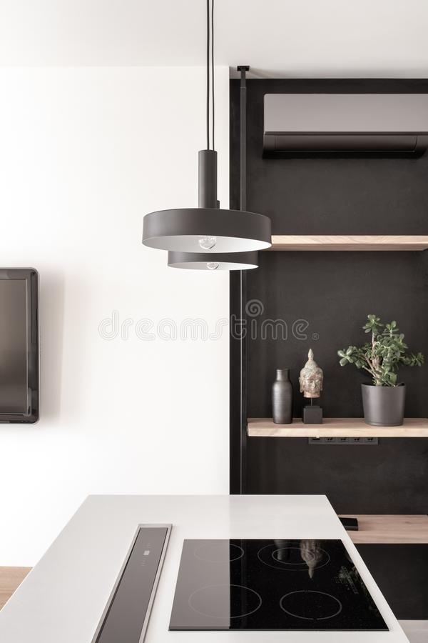Stilfullt kök i modern stil med den vita väggen fotografering för bildbyråer