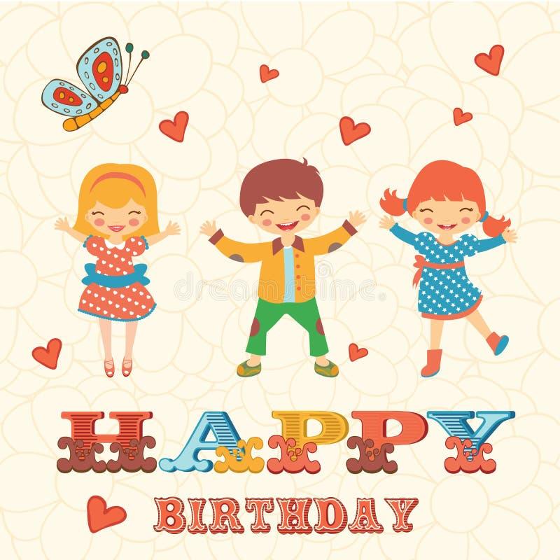 Stilfullt kort för lycklig födelsedag med gulligt hoppa för ungar royaltyfri illustrationer
