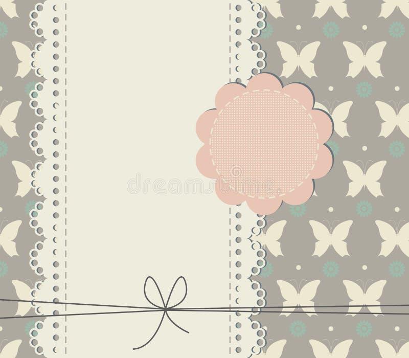 Stilfullt snöra åt ramen med dekorativa fjärilar och blommor stock illustrationer