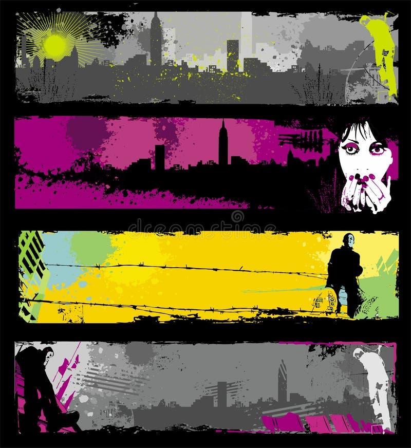 stilfullt stads- för banergrunge vektor illustrationer