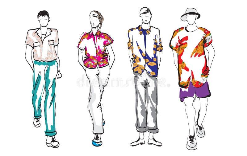 Stilfullt stiligt mans i modekl?der Utdragna härliga unga män för hand Stilfulla män Modemän skissar Modemän modellerar royaltyfri illustrationer