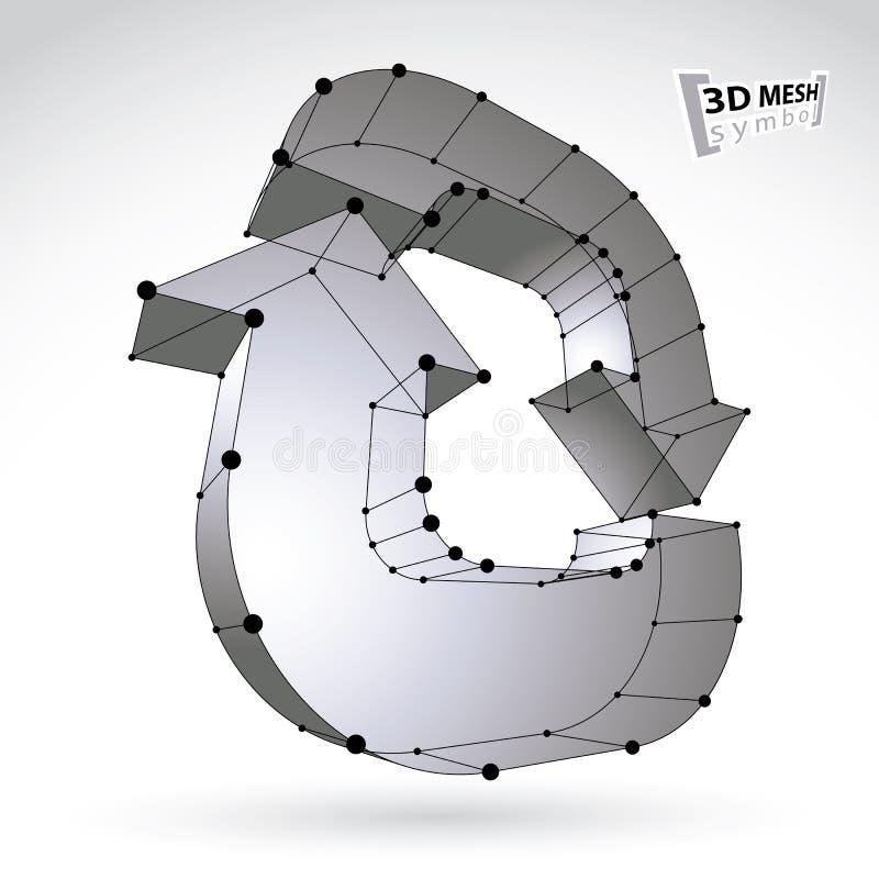 stilfullt uppdateringtecken för ingrepp som 3d isoleras på vit bakgrund som är lattic vektor illustrationer
