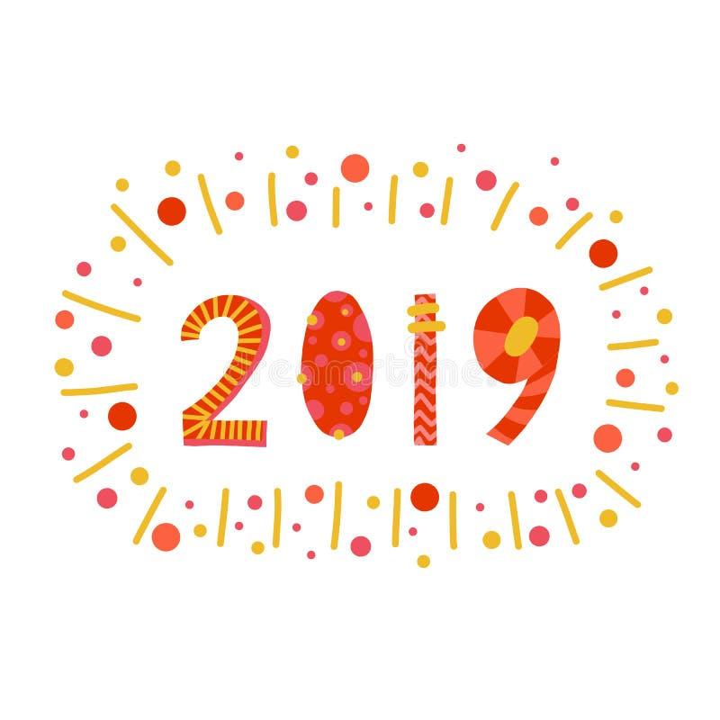 2019 stili d'iscrizione del papercut dell'illustrazione Progettazione disegnata a mano piana del buon anno del fumetto Nuovi anni illustrazione vettoriale