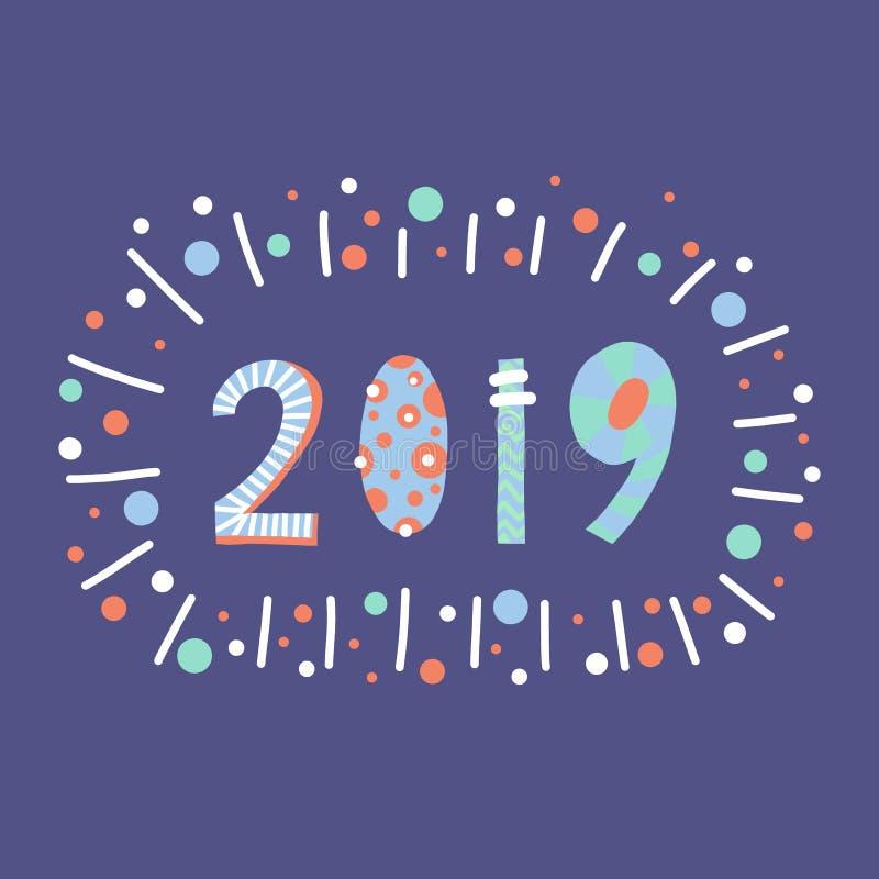 2019 stili d'iscrizione del papercut dell'illustrazione Progettazione disegnata a mano piana del buon anno del fumetto Nuovi anni royalty illustrazione gratis