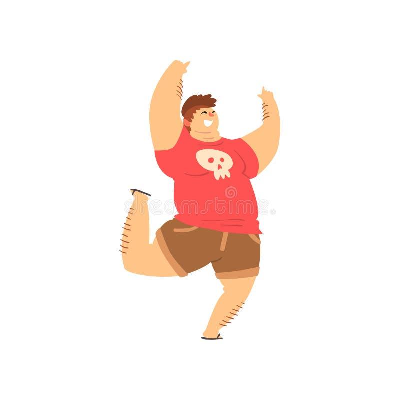 Stilig överviktig man i tillfällig kläder, fet grabb, positiv vektorillustration för kropp på en vit bakgrund vektor illustrationer