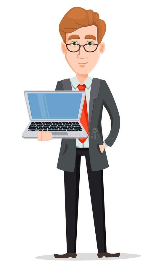 Stilig affärsman i dräkt och exponeringsglas som rymmer bärbara datorn royaltyfri illustrationer