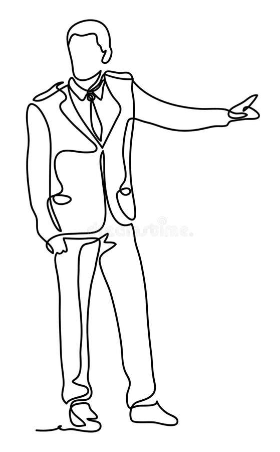 Stilig affärsman som pekar med fingret Fortlöpande linje teckning Isolerat på vitbakgrunden Vektormonokrom royaltyfri illustrationer